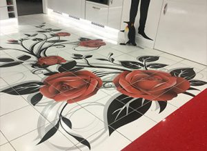 Decorative tiles floor