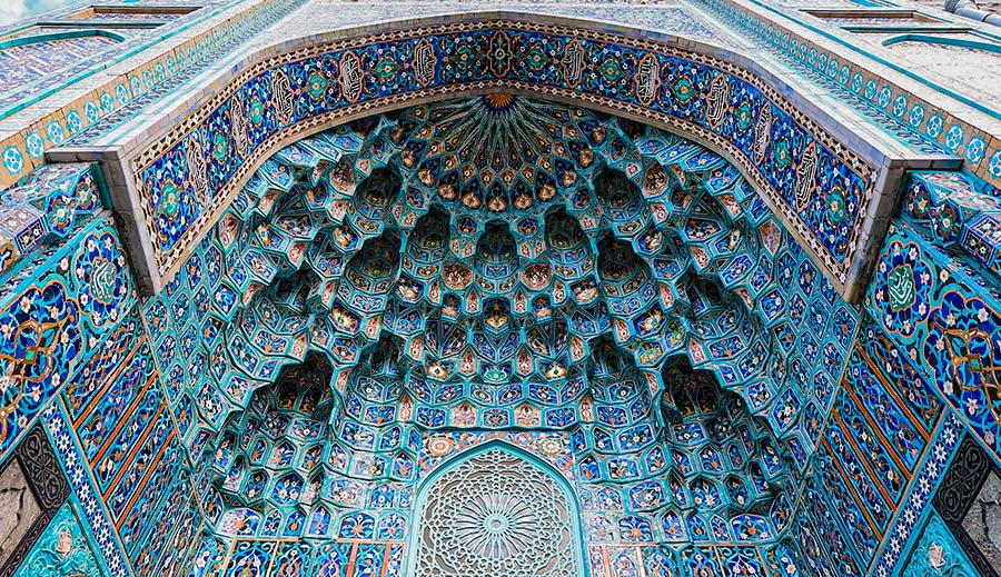 mosque tiles mosaic of mosque in Saint Petersburg